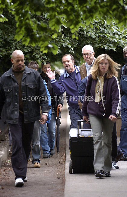 WWW.ACEPIXS.COM . . . . .  ....NEW YORK, MAY 26, 2005....Jack Nicholson on the set of The Departed.....Please byline: Ian Wingfield - ACE PICTURES..... *** ***..Ace Pictures, Inc:  ..Craig Ashby (212) 243-8787..e-mail: picturedesk@acepixs.com..web: http://www.acepixs.com