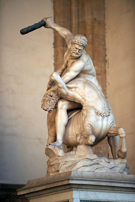Statue of Hercules & The Centaur, Giambogna (1545-1549) .  The Loggia dei Lanzi, also called the Loggia della Signoria, Piazza della Signoria in Florence, Italy,