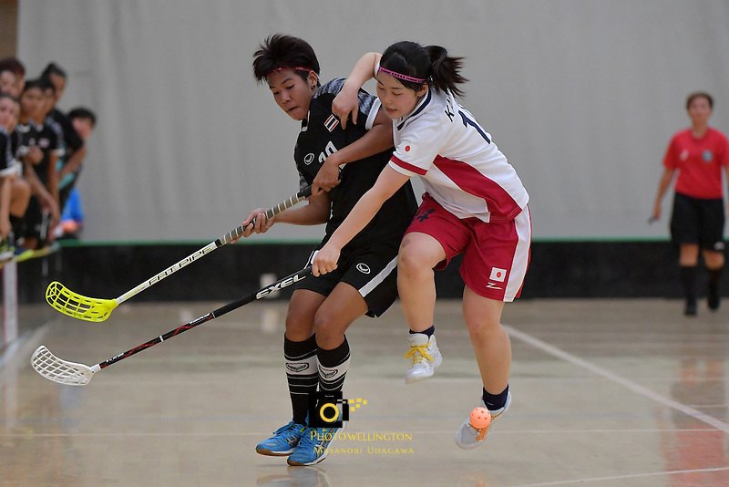 Thailand's Pichawee Yoola and Japan's Maho Karino in action during the World Floorball Championships 2017 Qualification for Asia Oceania Region - Japan v Thailand at ASB Sports Centre , Wellington, New Zealand on Saturday 4 February 2017.<br /> Photo by Masanori Udagawa<br /> www.photowellington.photoshelter.com.