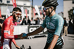 Riders greet one another at sign on before the start of Stage 1 of the 2018 Artic Race of Norway, running 184km from Vadso to Kirkenes, Norway. 16th August 2018. <br /> <br /> Picture: ASO/Pauline Ballet | Cyclefile<br /> All photos usage must carry mandatory copyright credit (&copy; Cyclefile | ASO/Pauline Ballet)