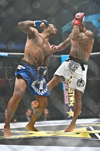 24.06.2011, Washinton, USA.   Eduardo Pamplona delivers a leg blow to Jerron Peoples during the STRIKEFORCE Challengers at the ShoWare Center in Kent, Washington. Pamplona knocked Peoples out in the first round.
