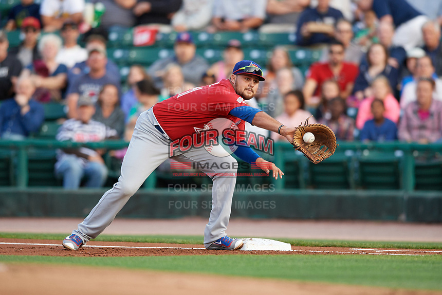 Buffalo Bisons first baseman Rowdy Tellez (21) stretches for a throw during a game against the Rochester Red Wings on August 25, 2017 at Frontier Field in Rochester, New York.  Buffalo defeated Rochester 2-1 in eleven innings.  (Mike Janes/Four Seam Images)