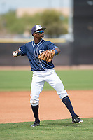 San Diego Padres third baseman Esteury Ruiz (3) during a Minor League Spring Training game against the Seattle Mariners at Peoria Sports Complex on March 24, 2018 in Peoria, Arizona. (Zachary Lucy/Four Seam Images)