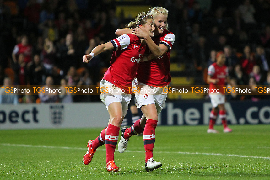 Katie Chapman of Arsenal Ladies (R) congratulates Ellen White on scoring the first goal - Arsenal Ladies vs Lincoln Ladies - FA Womens Super League Continental Cup Final Football at The Hive Stadium, Barnet FC - 04/10/13 - MANDATORY CREDIT: Gavin Ellis/TGSPHOTO - Self billing applies where appropriate - 0845 094 6026 - contact@tgsphoto.co.uk - NO UNPAID USE