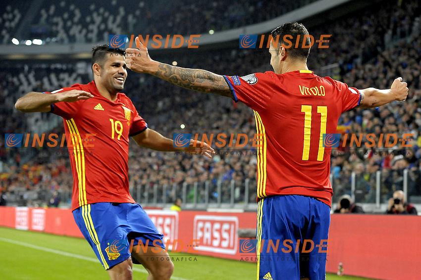 Esultanza Vitolo e Diego Costa Spain dopo gol 0-1, goal celebration,<br /> Torino 06-10-2016 Juventus Stadium <br /> World Cup Qualifiers Italy - Spain / Italia - Spagna. Foto Filippo Alfero / Insidefoto