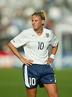 Aly Wagner Looks downfield during a 0-0 tie with Japan in San Diego, Calif.,  January 12, 2003.