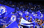 Chelsea fans waving flags before the start of the FA cup semi-final match at Wembley Stadium, London. Picture date 22nd April, 2018. Picture credit should read: Robin Parker/Sportimage