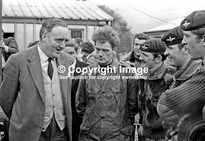 William Whitelaw, UK Secretary of State for N Ireland, meets members of the Parachute Regiment at Girdwood Barracks, Belfast. NI Troubles. Whitelaw later became Lord Whitelaw. Ref: 19720401001.<br />