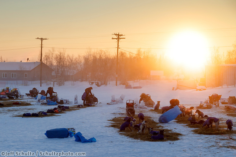 Mushers are getting ready to leave from the Huslia checkpoint on the morning of Sunday  March 15, 2015 during Iditarod 2015.  <br /> <br /> (C) Jeff Schultz/SchultzPhoto.com - ALL RIGHTS RESERVED<br />  DUPLICATION  PROHIBITED  WITHOUT  PERMISSION