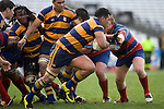 Jeff Maka tries to fend off Bruce John. CMRFU Counties Power 2008 Club rugby McNamara Cup Premier final between Ardmore Marist & Patumahoe played at Growers Stadium, Pukekohe on July 26th.  Ardmore Marist won 9 - 8.