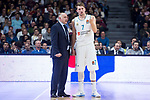 Real Madrid coach Pablo Laso and Luka Doncic during Turkish Airlines Euroleague match between Real Madrid and FC Barcelona Lassa at Wizink Center in Madrid, Spain. December 14, 2017. (ALTERPHOTOS/Borja B.Hojas)