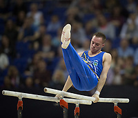 Oleg Verniaiev (UKR) in action during the men's Parallel Bars competition.  FIG World Cup Series of Gymnastics. The O2 Arena, London,  Britain 8th April 2017.