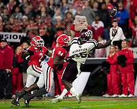 ATHENS, GA - NOVEMBER 23: Walter Grant #84 of the Georgia Bulldogs is called for pass interference while defending Jalen Wydermyer #85 of the Texas A