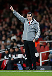Unai Emery manager of Arsenal urges the players forward during the UEFA Europa League match at the Emirates Stadium, London. Picture date: 28th November 2019. Picture credit should read: David Klein/Sportimage