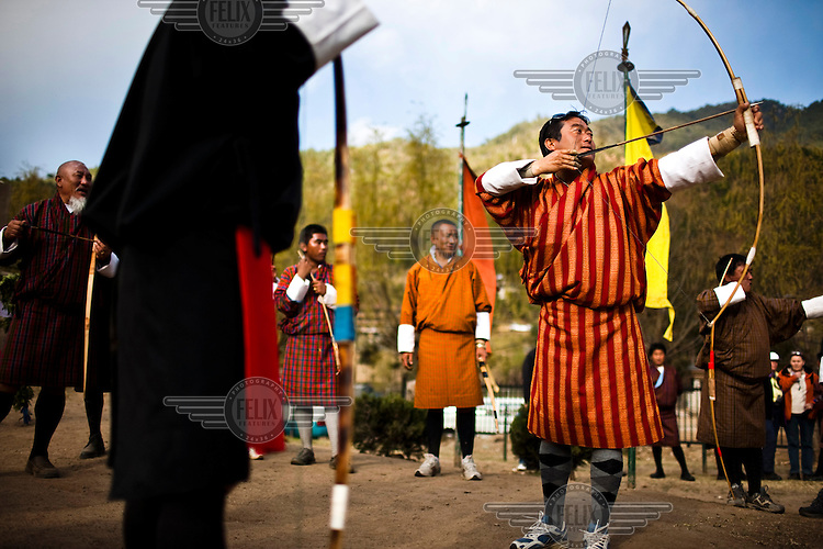 Archery afficionados gather to practice the traditional game of archery, Bhutan's national sport.