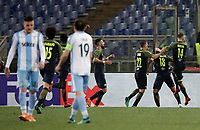 Europa League quarter-final 1st leg <br /> S.S. Lazio - FC Salzburg  Olympic Stadium Rome, April 5, 2018.<br /> Salzburg's Takumi Minamino (second from right) celebrates after scoring with his teammates during the Europa League match between Lazio and Salzburg at Rome's Olympic stadium, April 5, 2018.<br /> UPDATE IMAGES PRESS/Isabella Bonotto