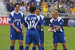 Danielle Slaton with teammates Birgit Prinz, Hege Riise, and Nel Fettig at SAS Stadium in Cary, North Carolina on 4/5/03 before a game between the Carolina Courage and Washington Freedom. The Washington Freedom won the game 2-1.