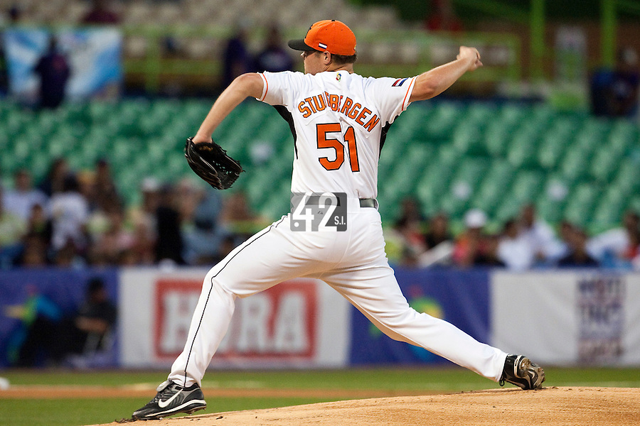 10 March 2009: #51 Tom Stuifbergen of the Netherlands pitches against the Dominican Republic during the 2009 World Baseball Classic Pool D game 5 at Hiram Bithorn Stadium in San Juan, Puerto Rico. The Netherlands pulled off second upset to advance to the secound round. The Netherlands come from behind in the bottom of the 11th inning and beat the Dominican Republic, 2-1.