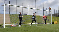 L-R Kristoffer Nordfellt, Lukasz Fabianski and Tony Roberts during the Swansea City FC training at the club's Fairwood Training Ground in the outskirts of Swansea, south Wales, UK on Tuesday 12 April 2016