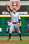 13 June 2006: Jamey Carroll, infielder for the Colorado Rockies, calls out a pop fly during a game against the Washington Nationals at RFK Stadium, in Washington, DC. The Rockies defeated the Nationals 9-2 in the second game of the four-game series...Mandatory Photo Credit: Ed Wolfstein Photo..