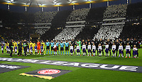 Mannschaften mit Einlaufkindern - 02.05.2019: Eintracht Frankfurt vs. Chelsea FC London, UEFA Europa League, Halbfinale Hinspiel, Commerzbank Arena DISCLAIMER: DFL regulations prohibit any use of photographs as image sequences and/or quasi-video.