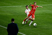 30th July 2020; Bankwest Stadium, Parramatta, New South Wales, Australia; A League Football, Adelaide United versus Perth Glory; Stefan Mauk of Adelaide United is fouled by Jake Brimmer of Perth Glory in front of Carl Veart, coach of Adelaide United