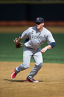 Kurtis Brown (22) of the Richmond Spiders during infield practice prior to the game against the Wake Forest Demon Deacons at David F. Couch Ballpark on March 6, 2016 in Winston-Salem, North Carolina.  The Demon Deacons defeated the Spiders 17-4.  (Brian Westerholt/Four Seam Images)