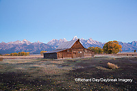 67545-09410 Sunrise at T.A. Moulton Barn in fall, Grand Teton National Park, WY