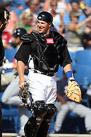 Toronto Blue Jays Ryan Budde #14 during a Spring Training game vs the Detroit Tigers at Florida Auto Exchange Stadium in Dunedin, Florida;  February 26, 2011.  Detroit defeated Toronto 4-0.  Photo By Mike Janes/Four Seam Images