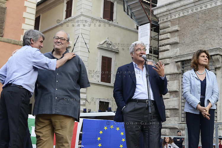 Roma, 27 Maggio 2014<br /> Piazza Farnese<br /> Festa del Pd con le elette e gli eletti alle elezioni Europee.<br /> Nella foto David Sassoli,Goffredo Bettini, Lionello Cosentino, Silvia Costa<br /> Event of Democratic Party after the European elections.