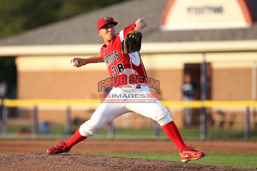 Batavia Muckdogs pitcher Cody Springer #38 during an exhibition game against the Newark Pilots of the Perfect Game Collegiate Baseball Lague at Dwyer Stadium on June 15, 2012 in Batavia, New York.  Batavia defeated Newark 8-0.  (Mike Janes/Four Seam Images)