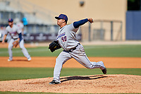 Jacksonville Jumbo Shrimp relief pitcher Jose Quijada (40) delivers a pitch during a game against the Biloxi Shuckers on May 6, 2018 at MGM Park in Biloxi, Mississippi.  Biloxi defeated Jacksonville 6-5.  (Mike Janes/Four Seam Images)