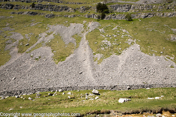 Scree slopes of loose weathered rock, Gordale Scar carboniferous limestone gorge, Yorkshire Dales national park, England, UK