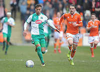 Plymouth Argyle's Gary Sawyer under pressure from Blackpool's Antony Evans<br /> <br /> Photographer Kevin Barnes/CameraSport<br /> <br /> The EFL Sky Bet League One - Blackpool v Plymouth Argyle - Saturday 30th March 2019 - Bloomfield Road - Blackpool<br /> <br /> World Copyright © 2019 CameraSport. All rights reserved. 43 Linden Ave. Countesthorpe. Leicester. England. LE8 5PG - Tel: +44 (0) 116 277 4147 - admin@camerasport.com - www.camerasport.com