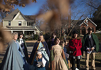 NWA Democrat-Gazette/CHARLIE KAIJO A group of carolers sing while caroling during the Washco Historical Society annual Holiday Open House, Sunday, December 2, 2018 at the Headquarters House in Fayetteville.<br /> <br /> Visitors enjoyed treats and drinks and carolers sang for neighbors of the Headquarters House.