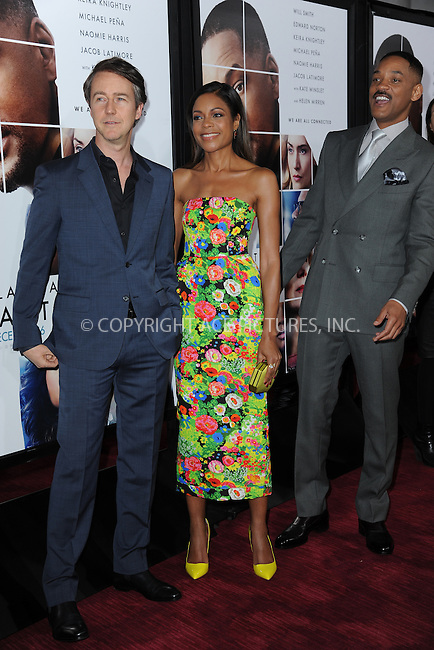 www.acepixs.com<br /> December 12, 2016  New York City<br /> <br /> Edward Norton and Naomie Harris and Will Smith attending the 'Collateral Beauty' World Premiere at Frederick P. Rose Hall, Jazz at Lincoln Center on December 12, 2016 in New York City.<br /> <br /> <br /> Credit: Kristin Callahan/ACE Pictures<br /> <br /> Tel: 646 769 0430<br /> Email: info@acepixs.com