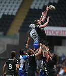 Ospreys lock Ian Evans beats his opposite number Mike Kearney to the line out ball.<br /> RoboPro 12<br /> Ospreys v Connacht<br /> 10.05.14<br /> &copy;Steve Pope-SPORTINGWALES