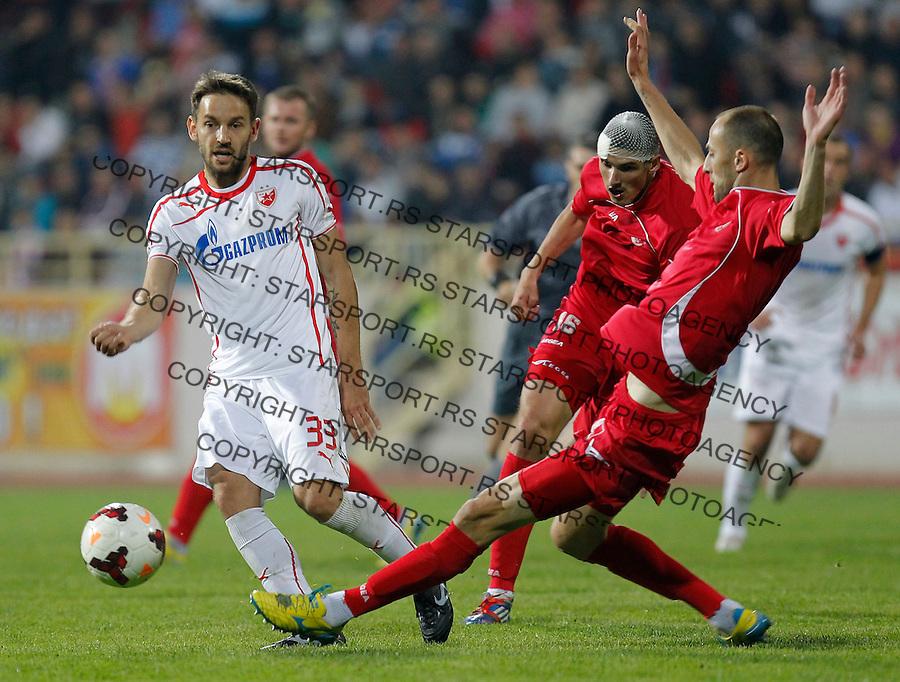 Fudbal Super liga season 2013-2014<br /> Radnicki Nis v Crvena Zvezda<br /> Milos Ninkovic (L) and Rados Bulatovic (R)<br /> Nis, 26.10.2013.<br /> foto: Srdjan Stevanovic/Starsportphoto &copy;