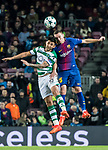 Thomas Vermaelen (r) of FC Barcelona battles for the ball with Alan Ruiz of Sporting CP during the UEFA Champions League 2017-18 match between FC Barcelona and Sporting CP at Camp Nou on 05 December 2017 in Barcelona, Spain. Photo by Vicens Gimenez / Power Sport Images