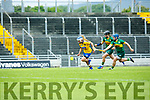 Roscommon's Rachel Fitzmaurice gets away from kerry's Laura Collins and Jaqueline Horgan in the Liberty Insurance all-Ireland Premier Junior Camogie Championship Kerry V Roscommon at Stacks Park on Saturday