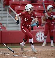 NWA Democrat-Gazette/ANDY SHUPE<br /> Arkansas designated hitter Danielle Gibson watches as the ball sails to the outfield against Wichita State Wednesday, April 10, 2019, during the sixth inning at Bogle Park in Fayetteville. Visit nwadg.com/photos to see more photographs from the game.