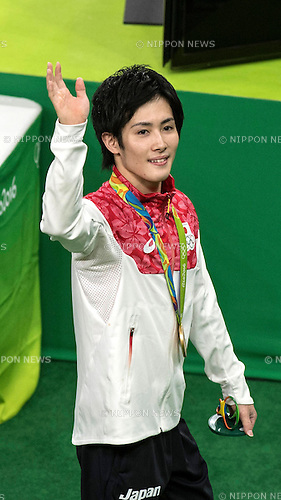Ryohei Kato (JPN),<br /> AUGUST 8, 2016 - Artistic Gymnastics :<br /> Ryohei Kato of Japan waves after receiving the gold medal during the Men's Team Medal Ceremony at Rio Olympic Arena during the Rio 2016 Olympic Games in Rio de Janeiro, Brazil. (Photo by Enrico Calderoni/AFLO SPORT)