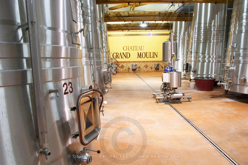 Chateau Grand Moulin. In Lezignan-Corbieres. Les Corbieres. Languedoc. Stainless steel fermentation and storage tanks. Cooling coils for temperature control. France. Europe.