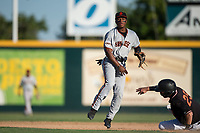 San Jose Giants second baseman Jalen Miller (2) makes a throw to first base on a double play attempt during a California League game against the Modesto Nuts at John Thurman Field on May 9, 2018 in Modesto, California. San Jose defeated Modesto 9-5. (Zachary Lucy/Four Seam Images)