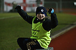 Picture by David Horn/Extreme Aperture Photography +44 7545 970036.18/02/2013.A Chelmsford City ball boy celebrates the equalising goal during the Blue Square Bet Blue Square South  League match at Melbourne Stadium, Chelmsford, Essex.