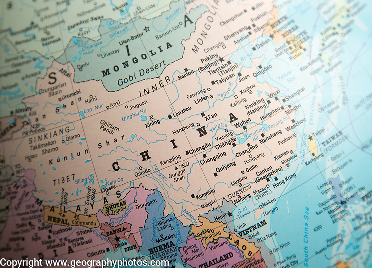 East Asia map on a globe focused on China