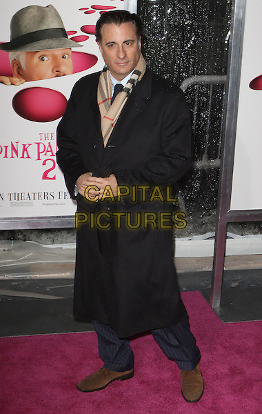 "ANDY GARCIA.""The Pink Panther 2"" World Premiere held at the Ziegfeld Theater, New York, NY, USA..February 3rd, 2009.full length burberry scarf black tie coat trench mac belt belted brown beige.CAP/ADM/PZ.©Paul Zimmerman/AdMedia/Capital Pictures."