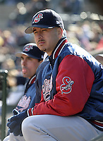 April 10, 2004:  /p/ Justin Miller of the Syracuse Sky Chiefs, Class-AAA International League affiliate of the Toronto Blue Jays, during a game at Frontier Field in Rochester, NY.  Photo by:  Mike Janes/Four Seam Images