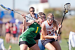 Santa Barbara, CA 02/13/10 - Bridget Haby (Texas #23) and Cristen Skope (Oregon #1) in action during the Texas-Oregon game at the 2010 Santa Barbara Shoutout, Texas defeated Oregon 11-9.