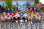 At the launch of the Senior Football Championship in the Tralee Bay Wetlands on Monday evening. Front l-r, Eamonn Hickson (West Kerry), Ross O&rsquo;Callaghan (Kerins O&rsquo;Rahillys), Conor Geaney (Dingle), Shane Griffin (An Ghaeltacht), Paul Kennelly (Shannon Rangers), Micheal Reidy (St Kierans), Jack Brosnan (Mid Kerry), Niall Collins (Feale Rangers) and Brian Friel (Rathmore).<br /> Back l-r, Jim Garvey (garveys Supervalu), Trevor Walsh (St Brendans), Wayne Guthrie (Austin Stacks), John Payne (Dr Crokes), Billy Maguire (Killarney Legion), Gavin Crowley (Kenmare District), Shane O&rsquo;Sullivan (Kenmare Shamrocks) and Tim Murphy (Chairman Kerry Co Comm).